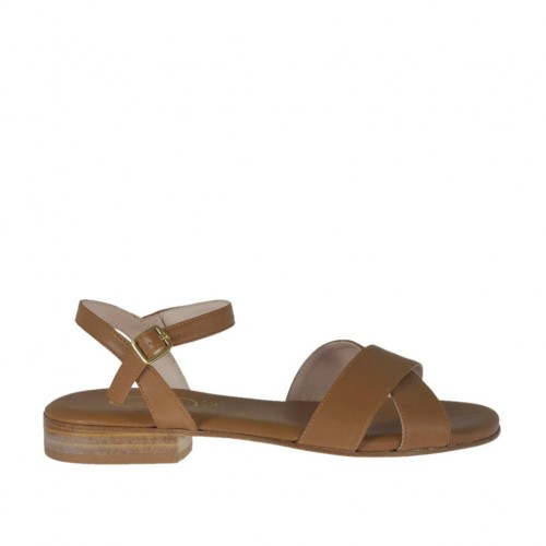Woman's tan brown strap sandal heel 2 - Available sizes:  32, 46
