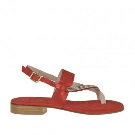 Sandalo infradito glitterato rosso con strass da donna tacco 2 - Misure disponibili: 33, 34, 42, 43, 44