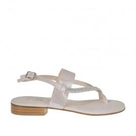 Sandalo infradito glitterato rosa con strass da donna tacco 2 - Misure disponibili: 42, 43, 46