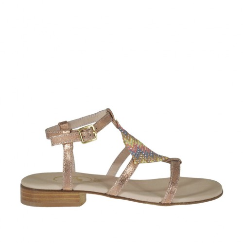 Woman's copper printed sandal with strap and multicolored rhinestones heel 2 - Available sizes:  32, 42, 43, 44