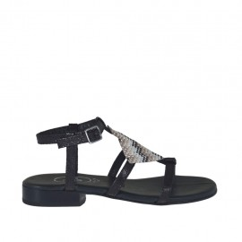Sandale pour femmes imprimé noir avec courroie et strass multicouleurs talon 2 - Pointures disponibles:  32, 33, 34, 42, 43, 44, 46