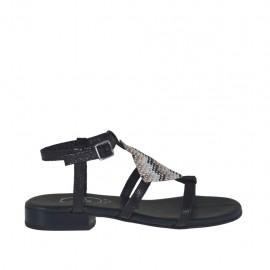 Sandalo da donna stampato nero con cinturino e strass colorati tacco 2 - Misure disponibili: 46