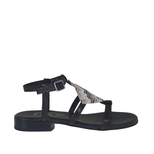 Woman's black printed sandal with strap and multicolored rhinestones heel 2 - Available sizes:  32, 33, 34, 42, 43, 44, 46