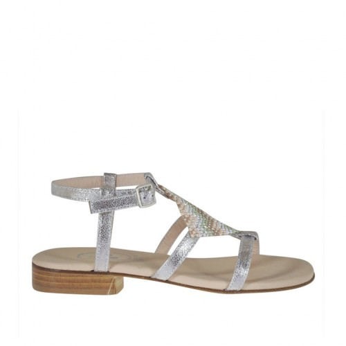 Woman's silver printed sandal with strap and multicolored rhinestones heel 2 - Available sizes:  32, 44, 45, 46