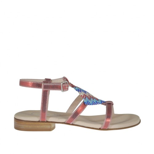 Woman's red printed sandal with strap and multicolored rhinestones heel 2 - Available sizes:  32, 42