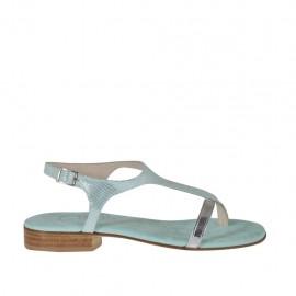 Sandalo infradito glitterato verde acqua e laminato argento da donna tacco 2 - Misure disponibili: 32, 33, 34, 42, 43, 44, 45