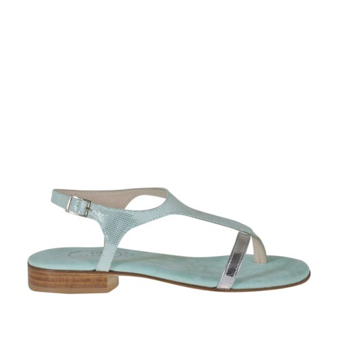 Woman's aquamarine glittered and silver laminated thong sandal heel 2 - Available sizes:  32, 34, 42, 43