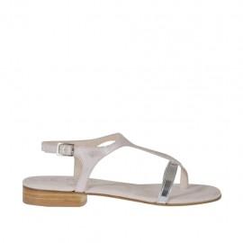 Sandalo infradito glitterato rosa e laminato argento da donna tacco 2 - Misure disponibili: 43, 45