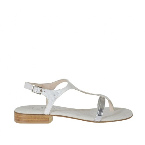 Woman's white glittered and silver laminated thong sandal heel 2 - Available sizes:  32, 34, 43