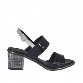 Sandalo da donna in vernice nera e argento tacco 5 - Misure disponibili: 32