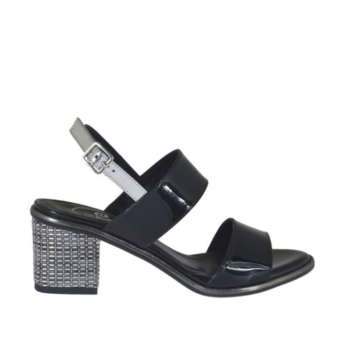 Woman's black and silver varnished sandal heel 5 - Available sizes:  32