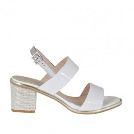 Sandalo da donna in vernice bianca e argento tacco 5 - Misure disponibili: 46
