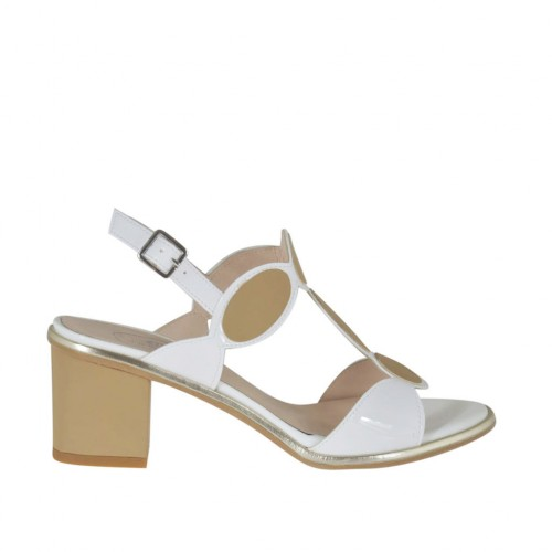 Woman's white varnished sandal with tan brown rubber inserts heel 5 - Available sizes:  31, 32, 33, 34, 42, 43, 44, 46