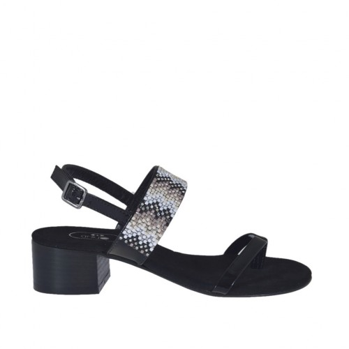 Woman's black varnished thong sandal with multicolored rhinestones heel 4 - Available sizes:  31, 32, 42, 44