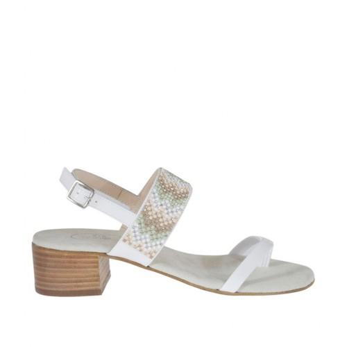 Sandale entredoigt pour femmes en verni blanc avec strass multicouleurs talon 4 - Pointures disponibles:  43