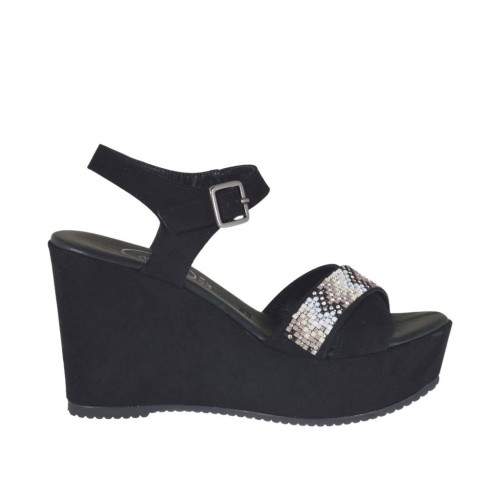 Woman's sandal in black suede with strap, multicolored rhinestones, platform and wedge 9 - Available sizes:  42
