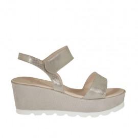 Sandalo da donna glitterato taupe con velcro, plateau e zeppa 6 - Misure disponibili: 42