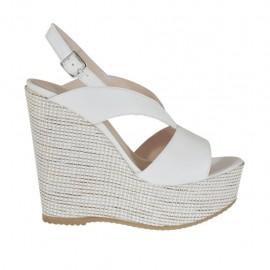 Sandalo da donna bianco con plateau e zeppa 11 rivestita in tessuto - Misure disponibili: 31, 32, 34, 42, 43, 44, 46