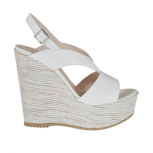 Woman's white sandal with platform and fabric-covered wedge heel 11 - Available sizes:  43, 46