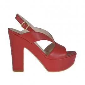 Sandalo da donna rosso con plateau e tacco 11 - Misure disponibili: 31, 32, 34, 42, 43
