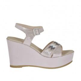 Sandalo da donna glitterato rosa con cinturino, strass colorati, plateau e zeppa 9 - Misure disponibili: 34, 45