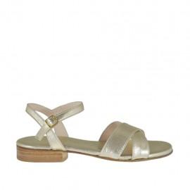 Sandalo platino da donna con cinturino tacco 2 - Misure disponibili: 33, 34, 42, 43, 44, 46