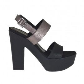 Sandalo da donna nero e canna di fucile con plateau e tacco 11 - Misure disponibili: 31, 32, 33, 34, 42, 43