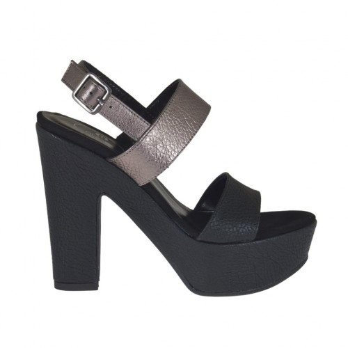 Woman's black and gunmetal sandal with platform and heel 11 - Available sizes:  31, 32, 33, 34, 42, 43