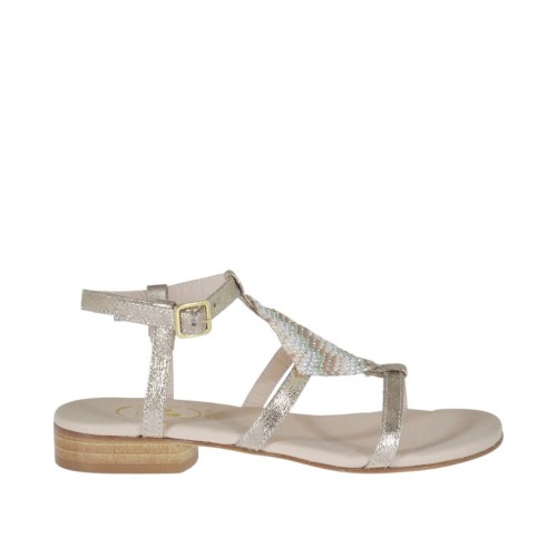 Woman's platinum printed sandal with strap and multicolored rhinestones heel 2 - Available sizes:  32
