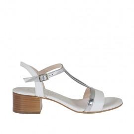 Sandalo bianco e argento da donna tacco 4 - Misure disponibili: 31, 33, 34, 42, 43, 44