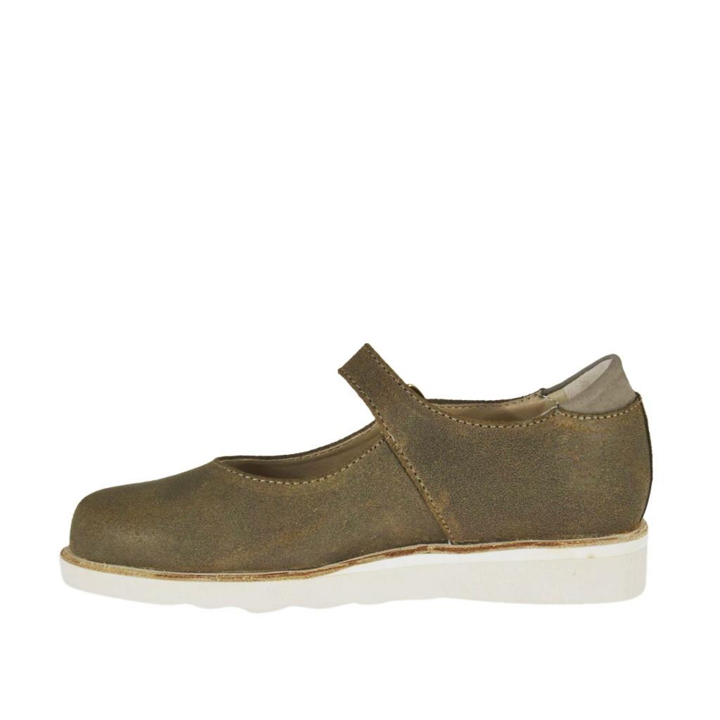chaussure pour femmes avec courroie en cuir taupe et gris talon compens 3 ghigocalzature. Black Bedroom Furniture Sets. Home Design Ideas