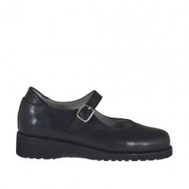 Chaussure pour femmes avec courroie en cuir noir talon compensé 3 - Pointures disponibles:  33, 42, 43, 45