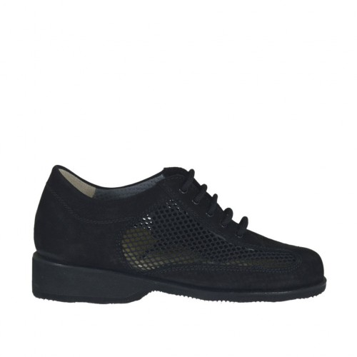 Woman's laced shoe in black nubuck leather and pierced fabric wedge heel 3 - Available sizes:  33, 43