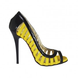 Zapato abierto para mujer en charol negro y piel amarillo tacon 10 - Tallas disponibles:  31, 32, 33, 42, 43, 44, 46, 47