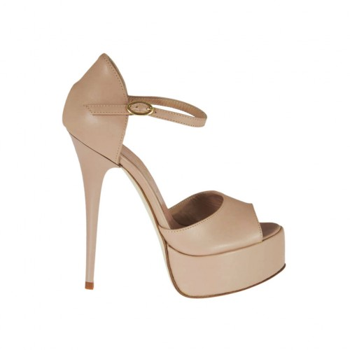Woman's open strap shoe in powder rose leather with platform and heel 13 - Available sizes:  31, 34, 42, 43, 45, 46, 47