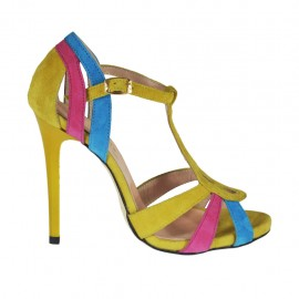 Woman's open shoe with t-strap and platform in yellow, blue and fuchsia suede heel 10 - Available sizes:  32, 42, 45, 46