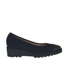 Damenpump aus schwarzem Stoff und Leder Keilabsatz 4 - Verfügbare Größen:  33, 42, 43, 44, 45