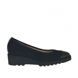 Woman's pump in black fabric and leather wedge heel 4 - Available sizes:  42