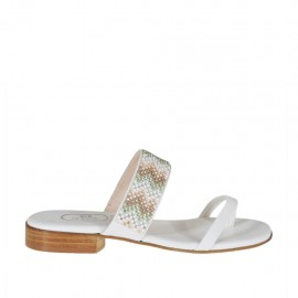 Woman's white open flip-flop mules with multicolored rhinestones heel 2 - Available sizes:  42, 43, 44