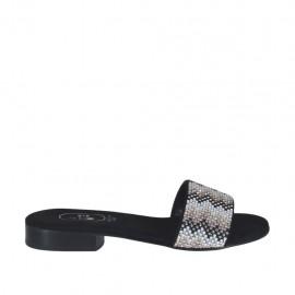 Offene schwarze Damenpantolette mit bunten Strasssteinen Absatz 2 - Verfügbare Größen:  32, 34