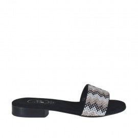 Woman's black open mules with multicolored rhinestones heel 2 - Available sizes:  32, 34
