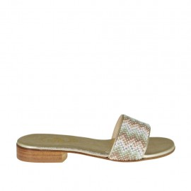 Woman's platinum open mules with multicolored rhinestones heel 2 - Available sizes:  43