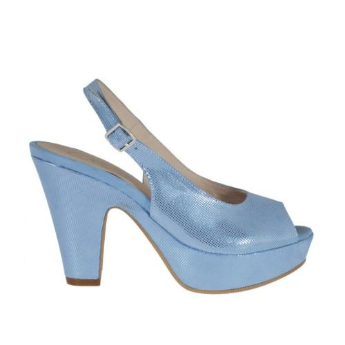Sandalia azul claro brillante para mujer con plataforma y tacon 9 - Tallas disponibles:  31, 32, 34