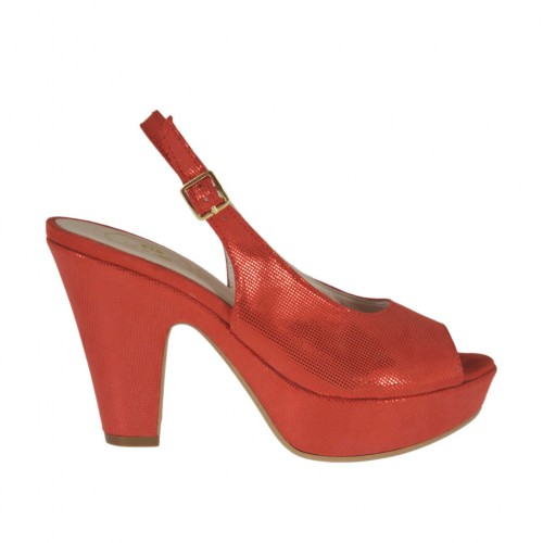 Sandalo da donna glitterato rosso con plateau e tacco 9 - Misure disponibili: 31, 32, 33, 34, 42, 46