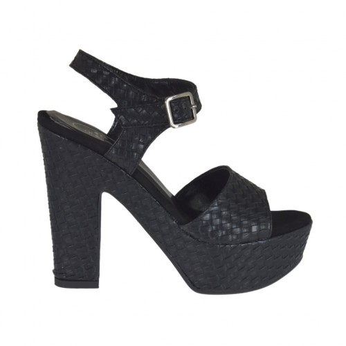 Black braid-printed woman's sandal with strap, platform and heel 11 - Available sizes:  42