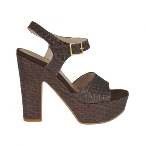 Dark brown braid-printed woman's sandal with strap, platform and heel 11 - Available sizes:  31, 43