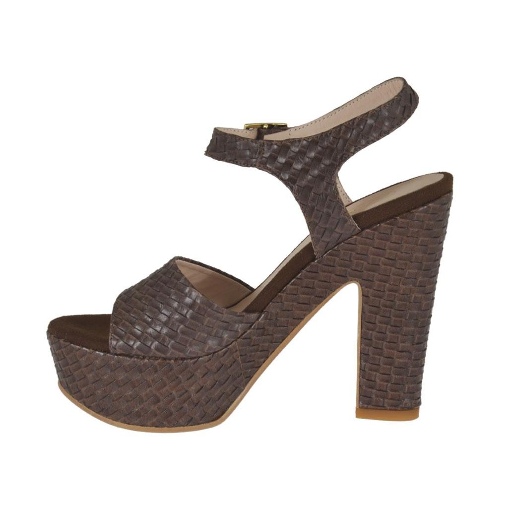 Dark Brown Braid Printed Woman S Sandal With Strap