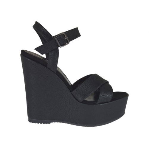 Black printed strap sandal for woman with coated platform and wedge 11 - Available sizes:  42