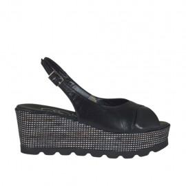 Sandalo da donna nero con plateau e zeppa 6 rivestita in tessuto - Misure disponibili: 32, 33, 34, 42