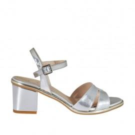 Sandalo da donna in vernice laminata argento con cinturino tacco 5 - Misure disponibili: 32, 33, 34, 46